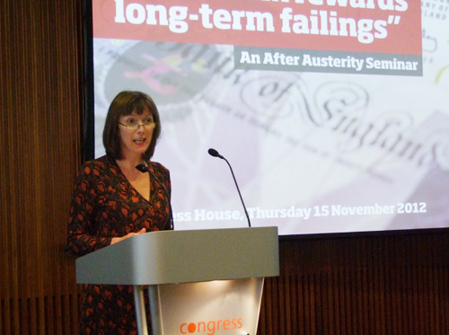 Frances O'Grady Speaking at the Short-term Rewards, Long-term Failings Seminar