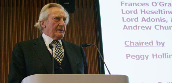 Photo of Lord Heseltine speaking at the After Austerity Industrial Policy seminar